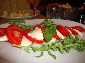Dinner in Florence, caprese salad.