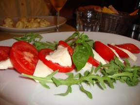 Dinner in Florence, caprese salad.