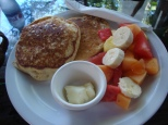 Pancake and fruit breakfast