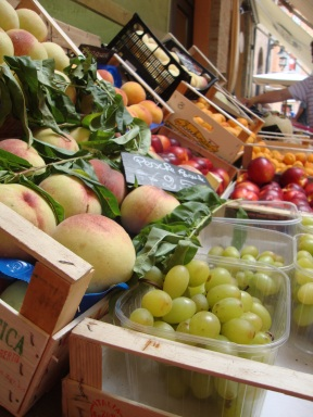 Fresh fruit outside a grocery store in Italy
