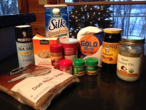 Vegan gingerbread ingredients.