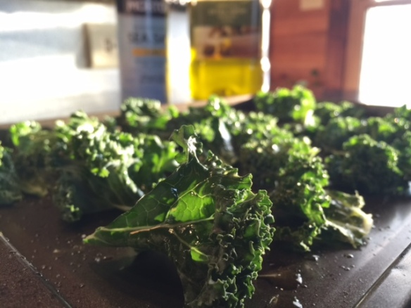 kale chips on baking sheet