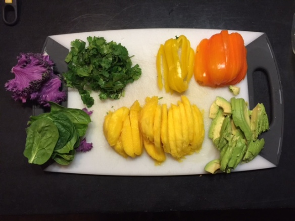 ingredients for mango, avocado, rice spring rolls