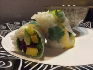 Mango, avocado, and shrimp spring rolls