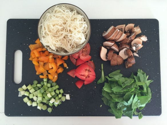 ingredients for vegetarian leftover pasta frittata